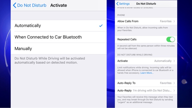 "Consider enabling ""Do Not Disturb While Driving"" on your"